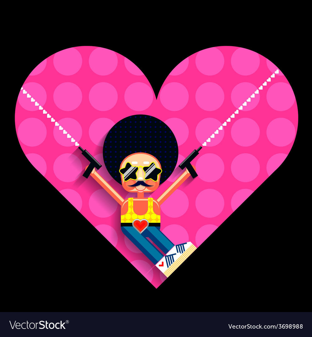 Disco cupid and heart vector | Price: 1 Credit (USD $1)