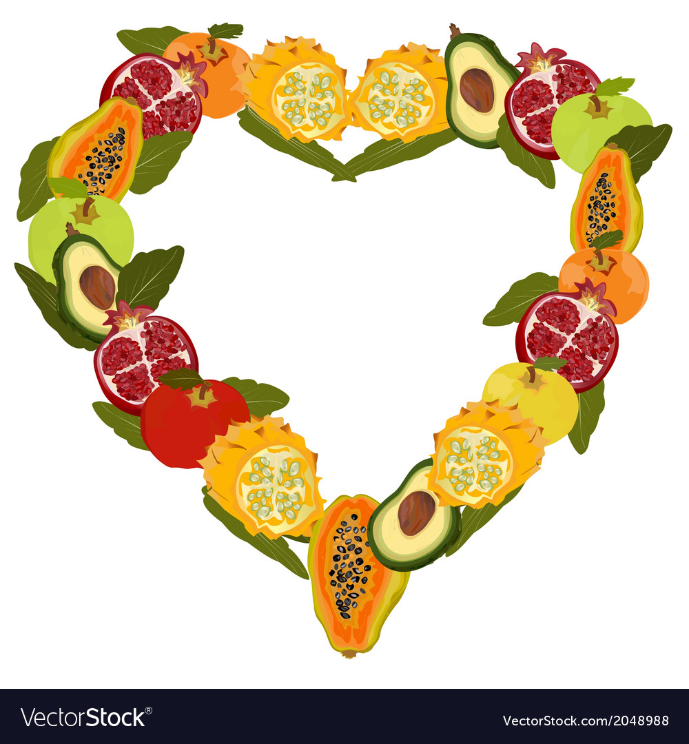 Fresh fruit in the form of heart vector | Price: 1 Credit (USD $1)
