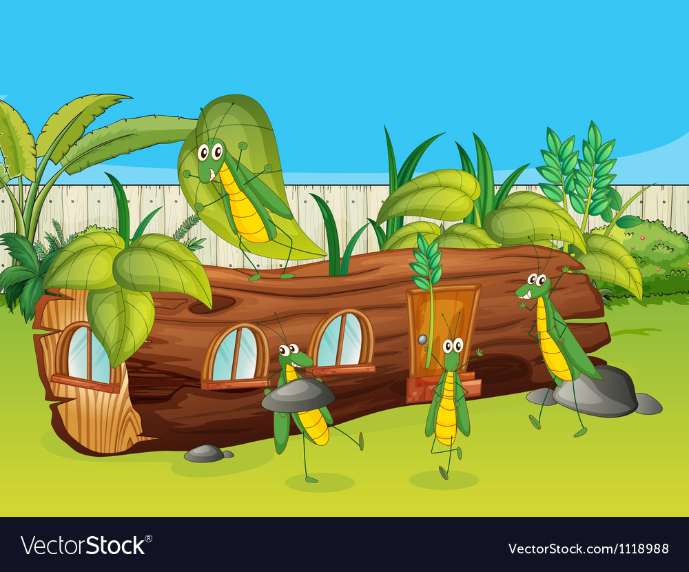 Grasshoppers and a wooden house vector   Price: 1 Credit (USD $1)