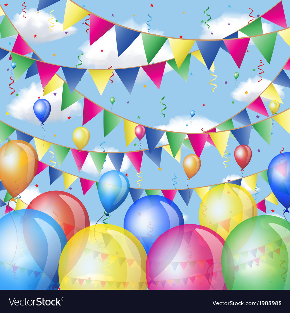 Holiday background with balloons and flags vector