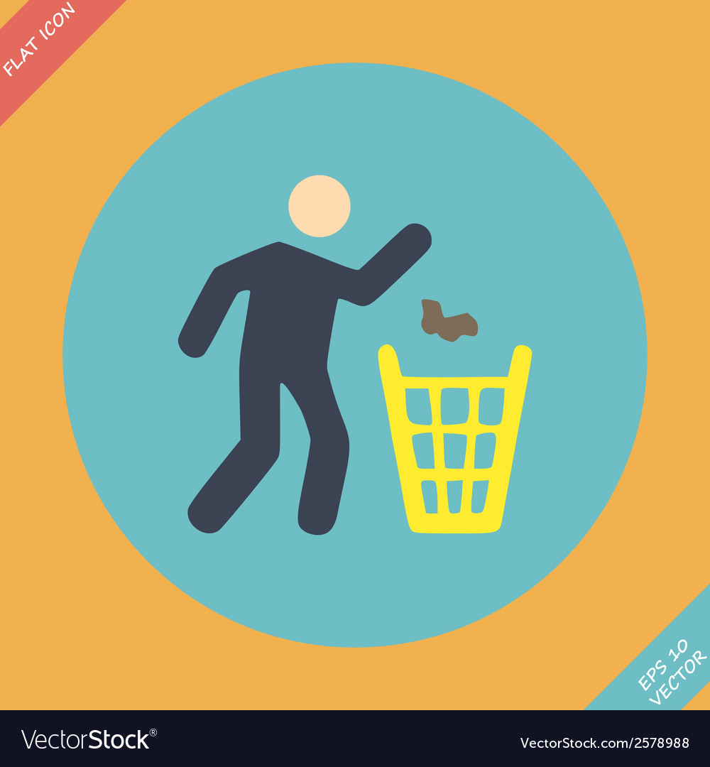 Littering sign icon -  flat vector | Price: 1 Credit (USD $1)