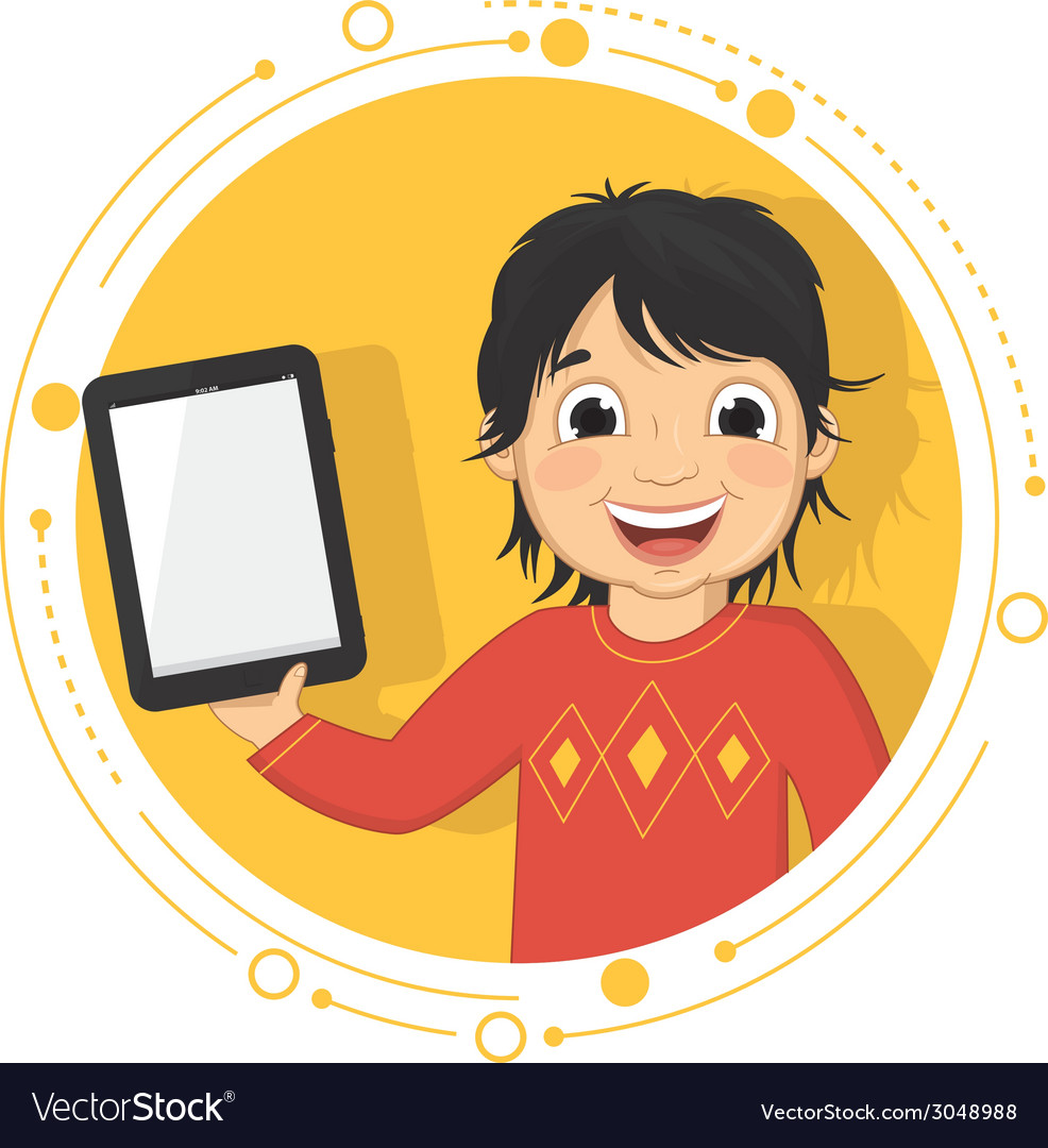 Of a boy with a tablet vector | Price: 1 Credit (USD $1)