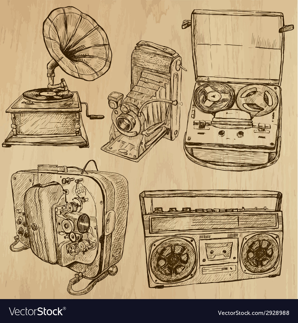 Old objects no4 - hand drawn collection vector | Price: 1 Credit (USD $1)