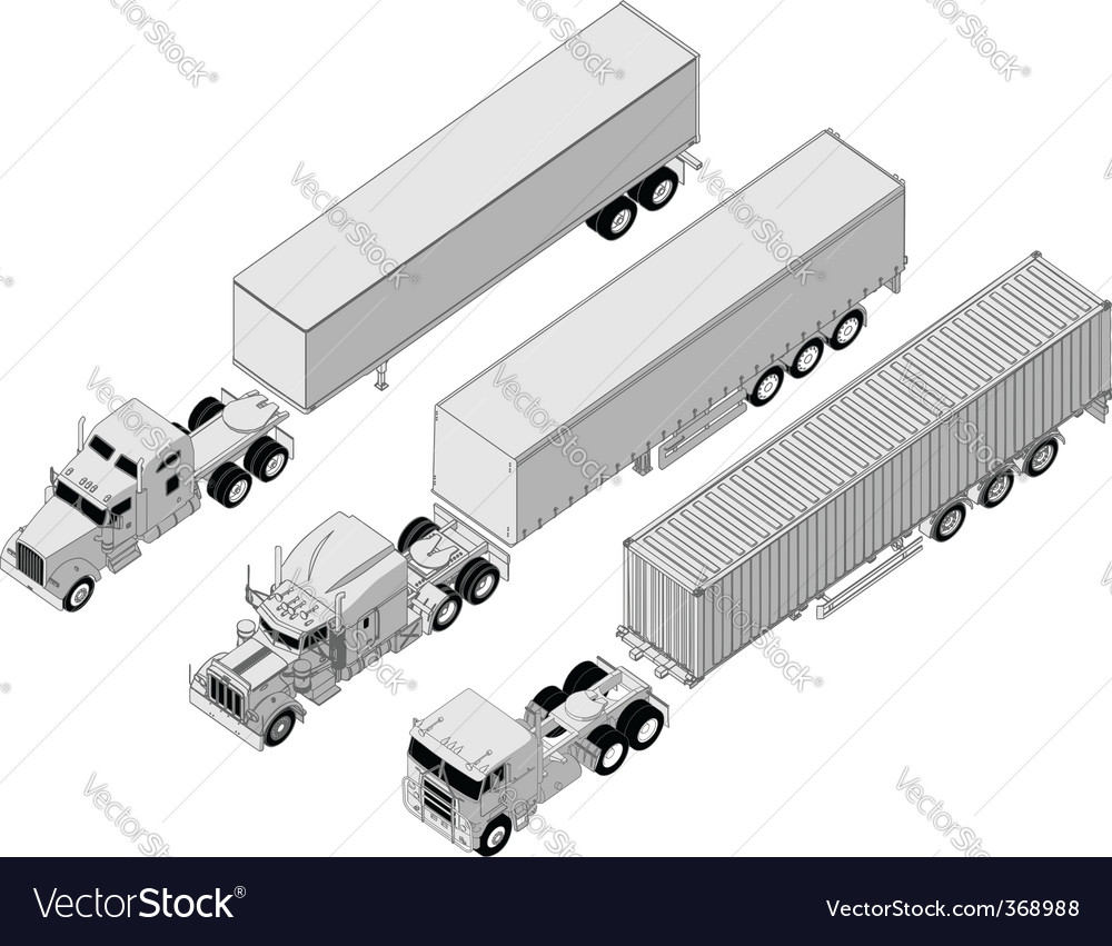 Semitruck set vector | Price: 3 Credit (USD $3)