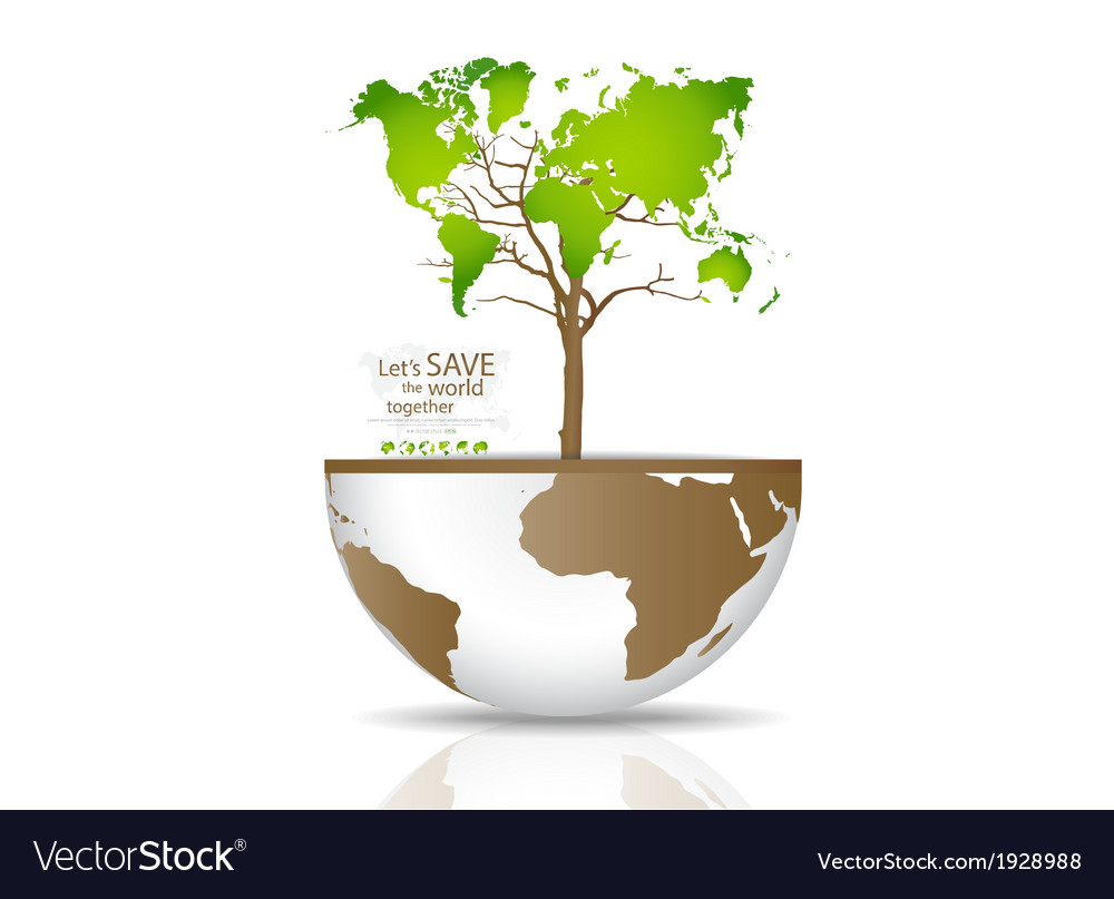 Tree on a globe vector | Price: 1 Credit (USD $1)