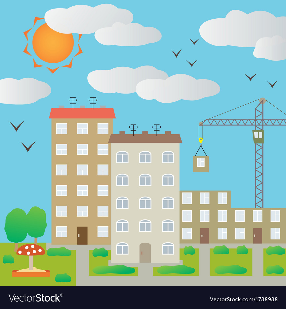View of the town vector | Price: 1 Credit (USD $1)