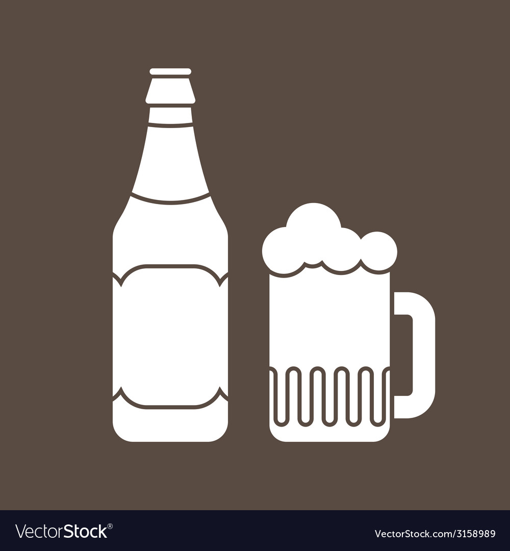 Beer bottle and glass vector | Price: 1 Credit (USD $1)