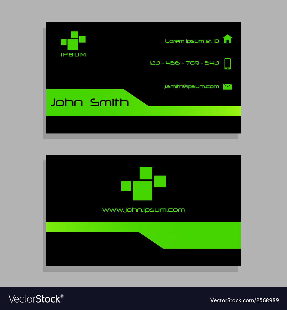 Business visit card template - green and black vector | Price: 1 Credit (USD $1)