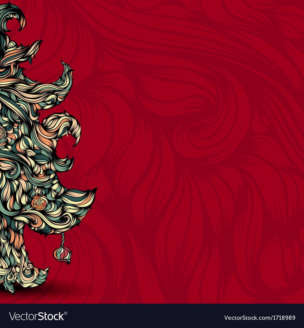Christmas tree made of hair beautiful greeting vector | Price: 1 Credit (USD $1)