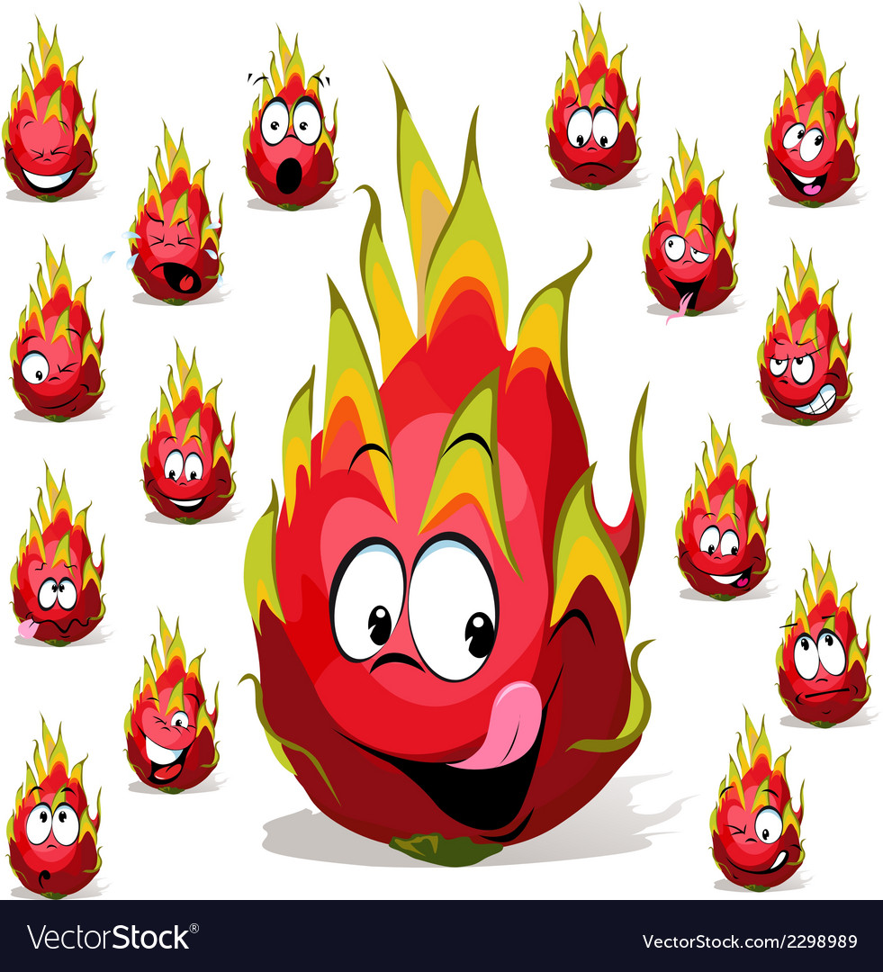 Dragon fruit cartoon with many facial expressions vector | Price: 1 Credit (USD $1)