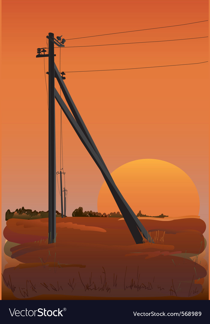 Electric power lines at sunset vector | Price: 1 Credit (USD $1)