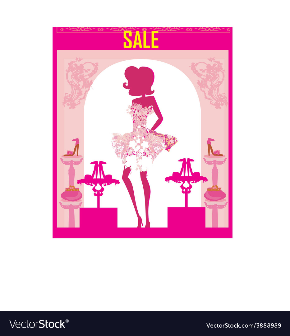 Fashion girl shopping in shoe shop abstract sale vector | Price: 1 Credit (USD $1)