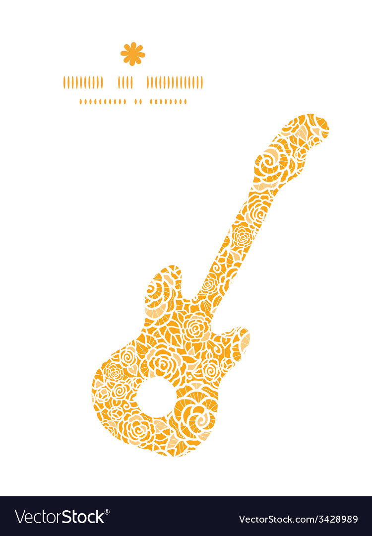 Golden lace roses guitar music silhouette pattern vector | Price: 1 Credit (USD $1)