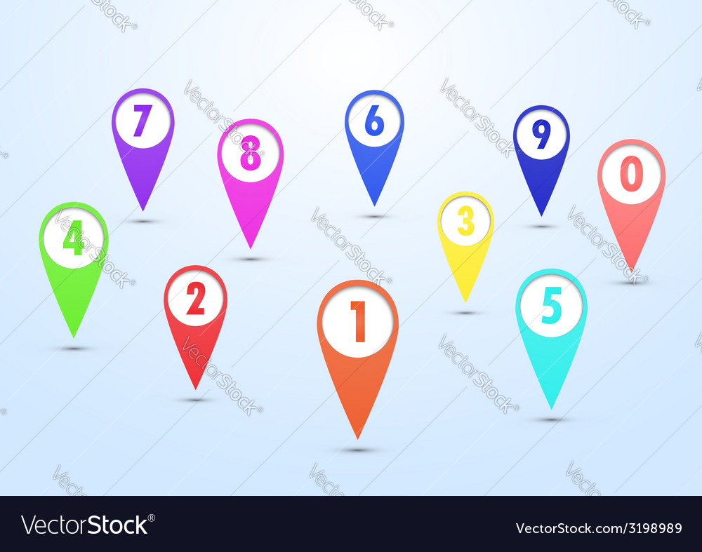 Set of colorful mapping pins vector | Price: 1 Credit (USD $1)