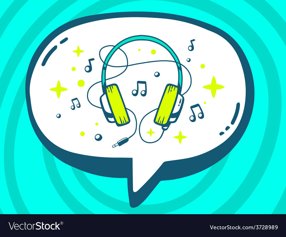 Speech bubble with icon of headphones on vector | Price: 1 Credit (USD $1)