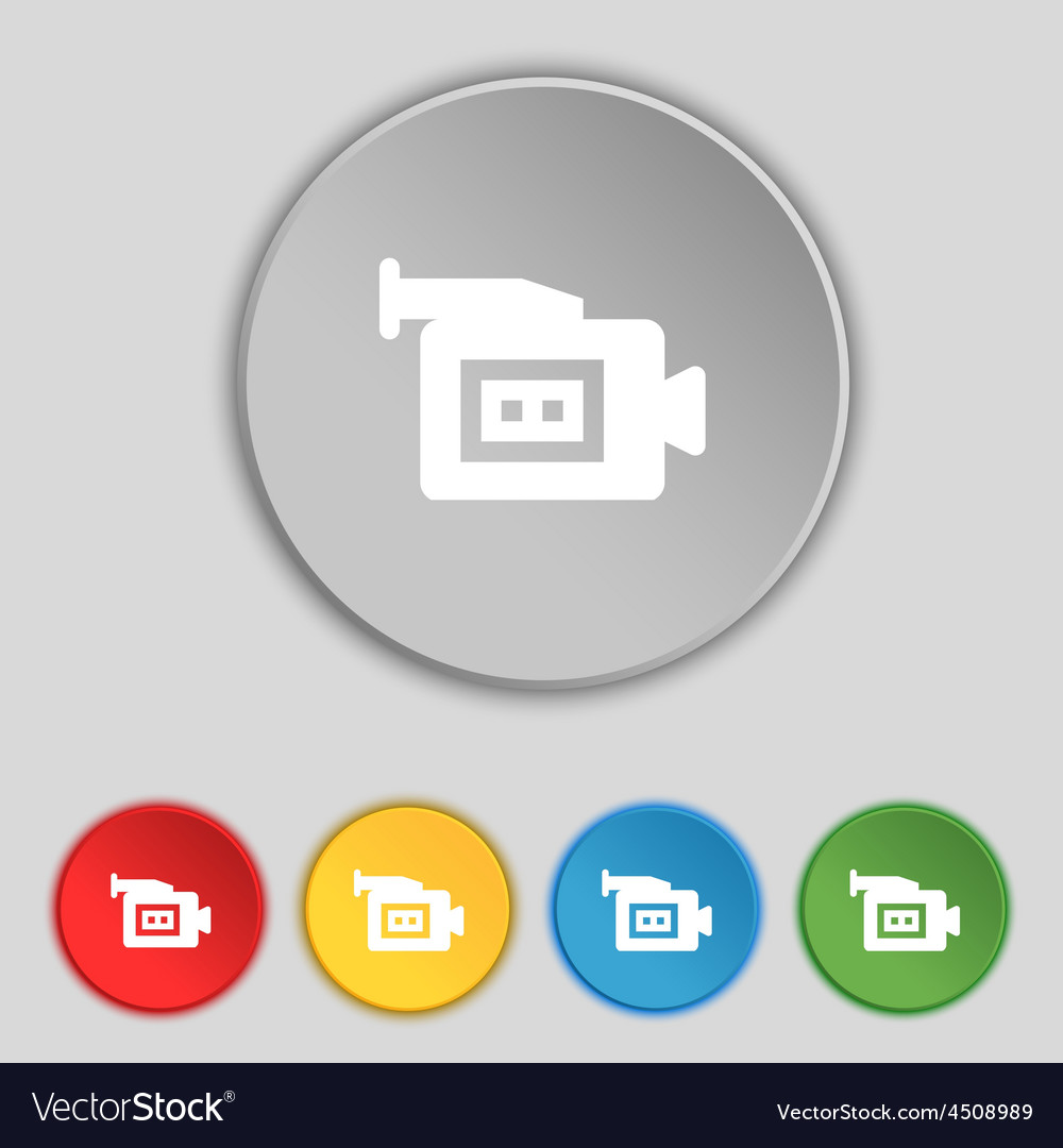 Video camera icon sign symbol on five flat buttons vector | Price: 1 Credit (USD $1)