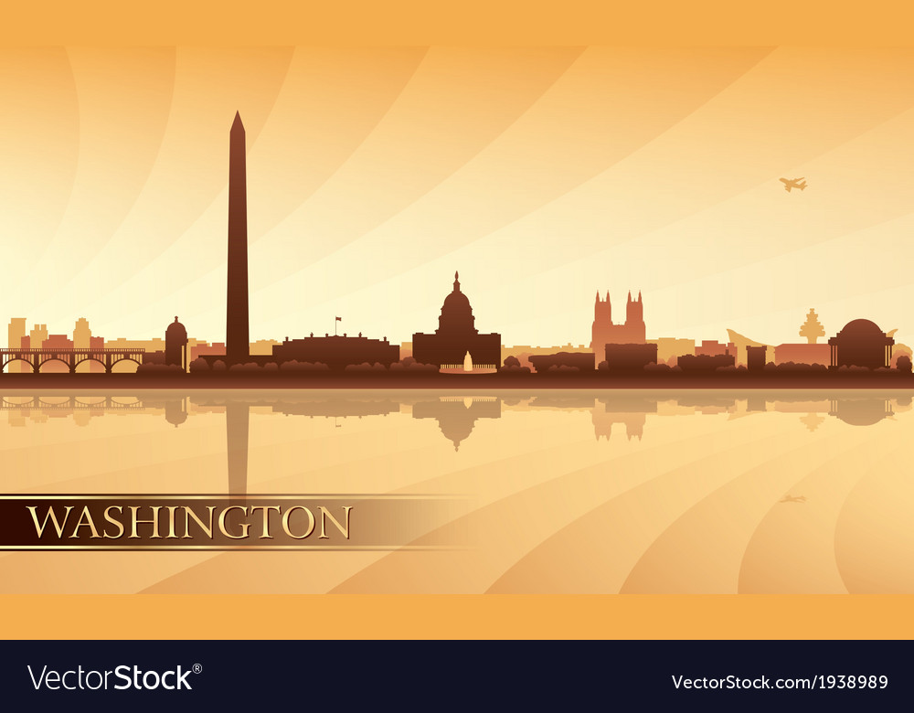 Washington city skyline silhouette background vector | Price: 1 Credit (USD $1)