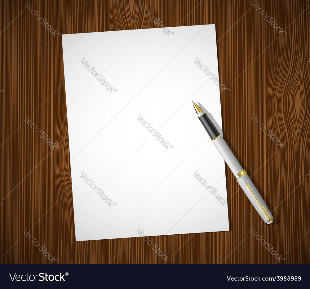 White sheet on a wooden table vector | Price: 1 Credit (USD $1)