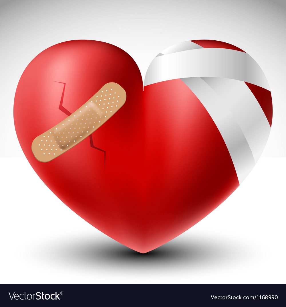 Broken heart with bandage vector | Price: 1 Credit (USD $1)