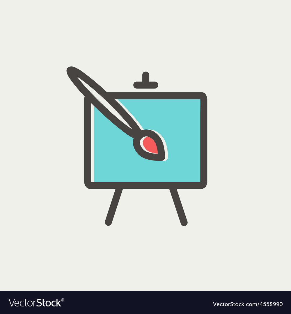 Chart and a paint brush thin line icon vector | Price: 1 Credit (USD $1)