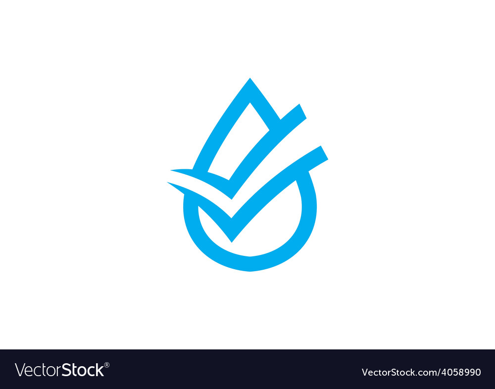 Clean water check mark logo vector | Price: 1 Credit (USD $1)