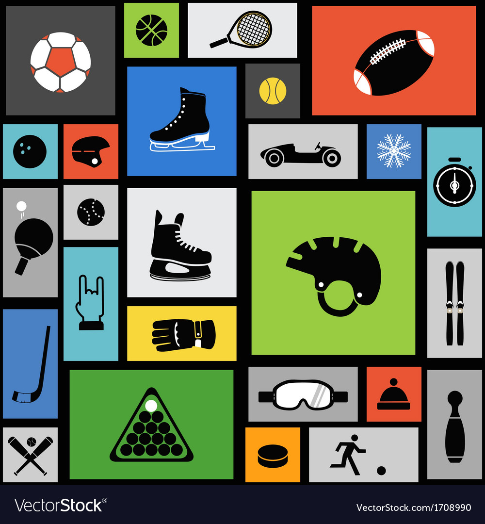 Color tile with sport icons vector | Price: 1 Credit (USD $1)