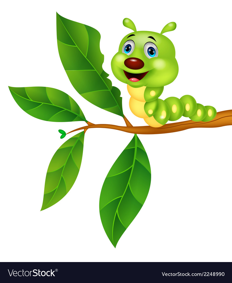 Cute caterpillar cartoon eating leaf vector | Price: 1 Credit (USD $1)