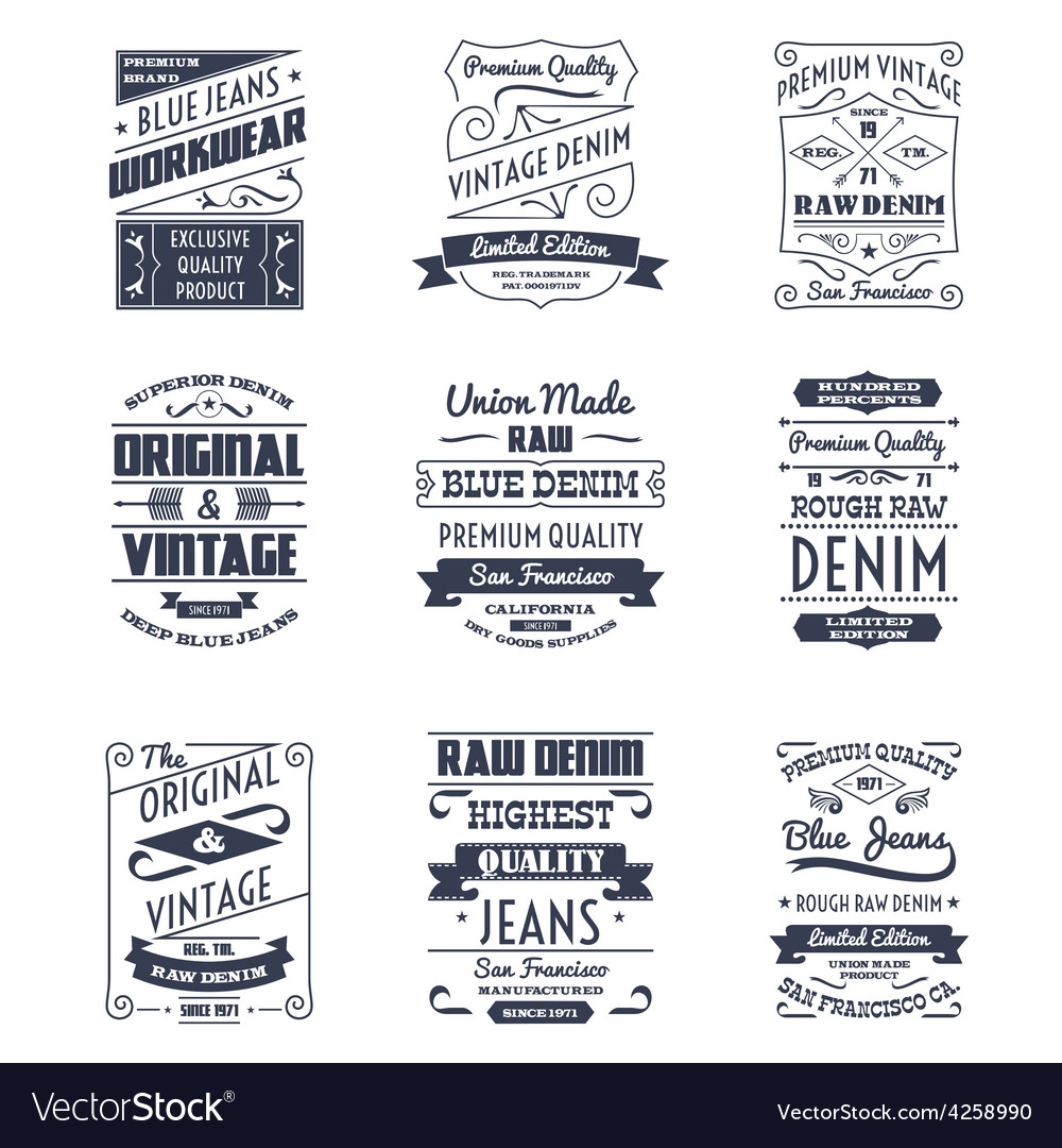 Denim typography logo emblems set vector | Price: 1 Credit (USD $1)