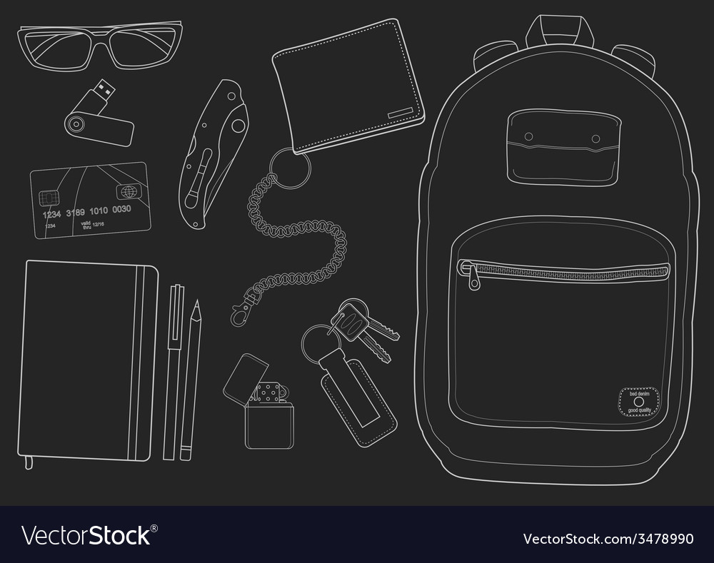 Every day carry man items chalkboard vector | Price: 1 Credit (USD $1)