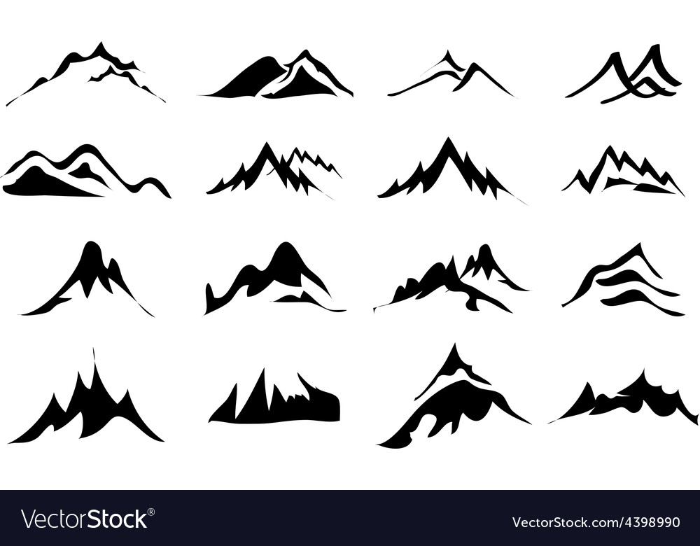 Mountains icons set vector | Price: 3 Credit (USD $3)