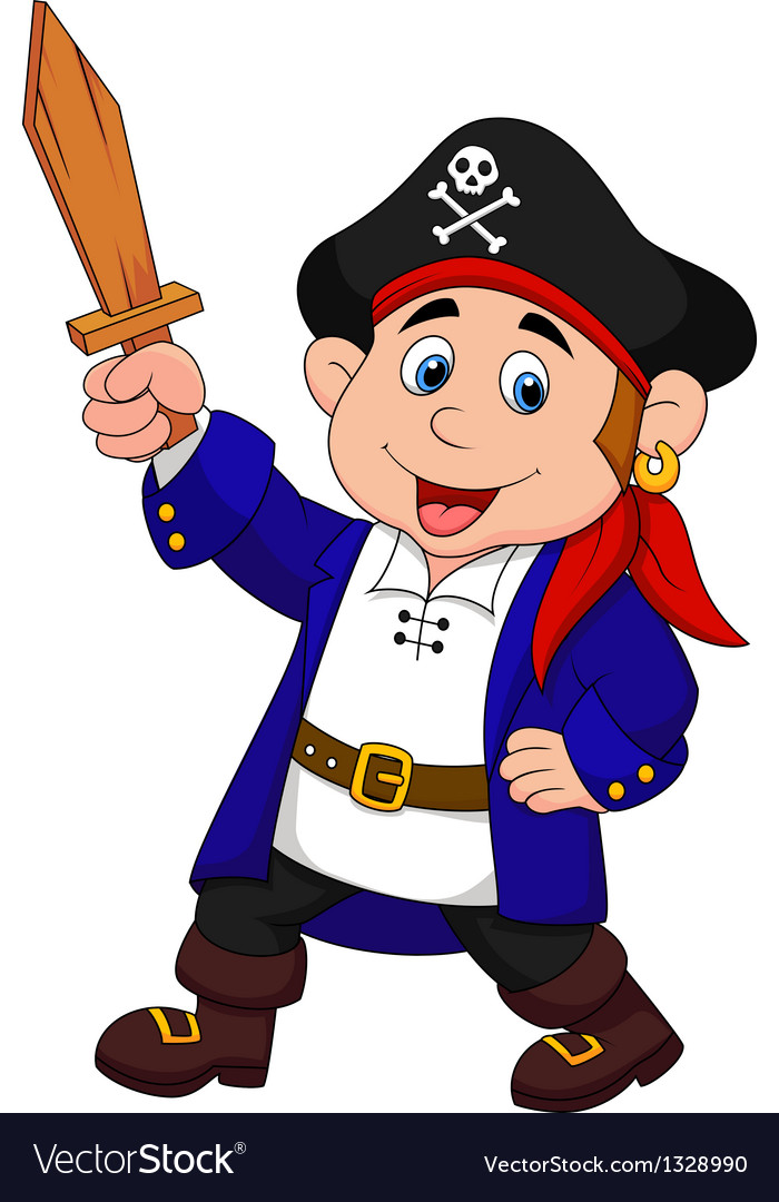Pirate boy cartoon vector | Price: 1 Credit (USD $1)