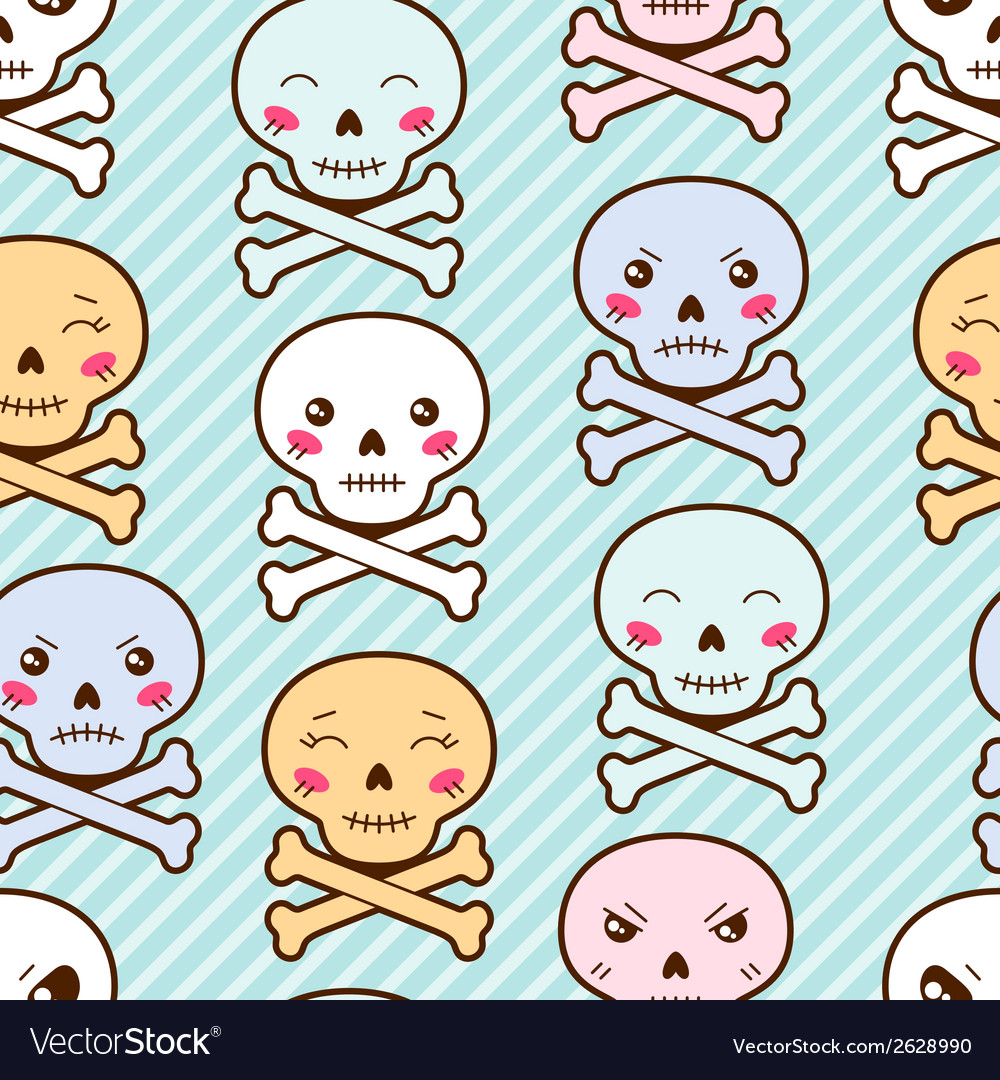 Seamless kawaii cartoon pattern with cute skulls vector | Price: 1 Credit (USD $1)