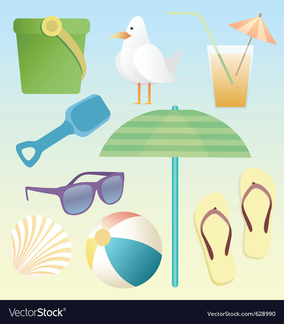 Summer beach pack vector | Price: 3 Credit (USD $3)