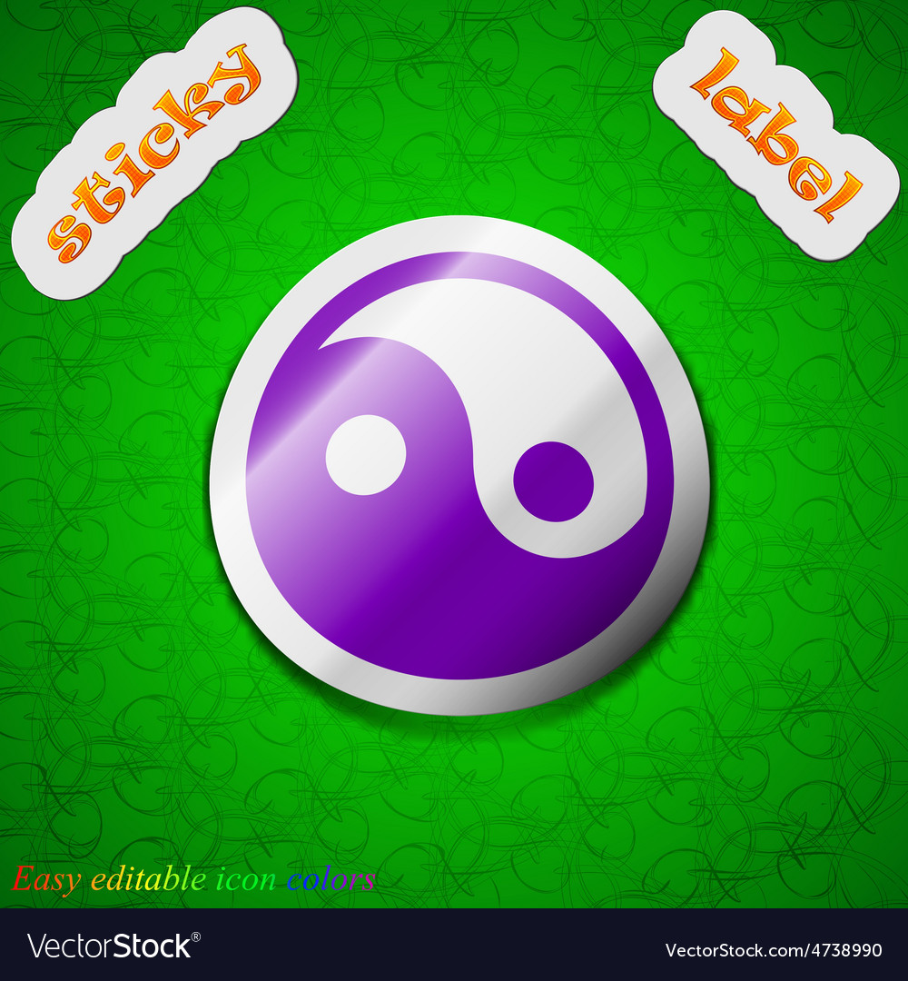 Ying yang icon sign symbol chic colored sticky vector | Price: 1 Credit (USD $1)