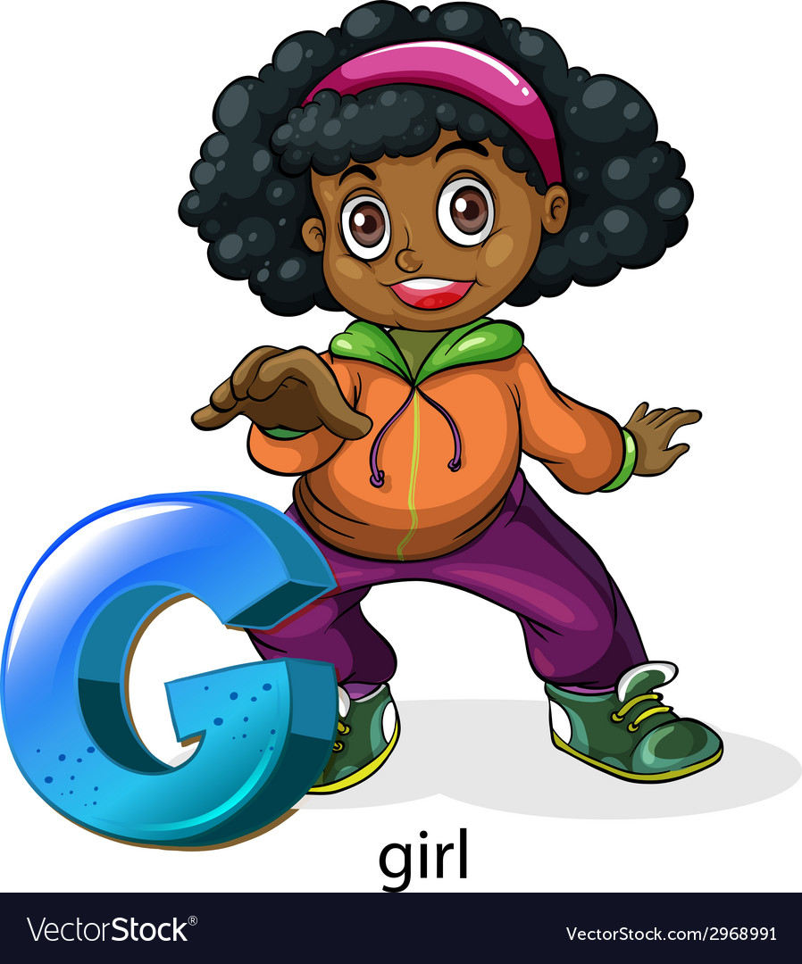 A letter g for girl vector | Price: 1 Credit (USD $1)