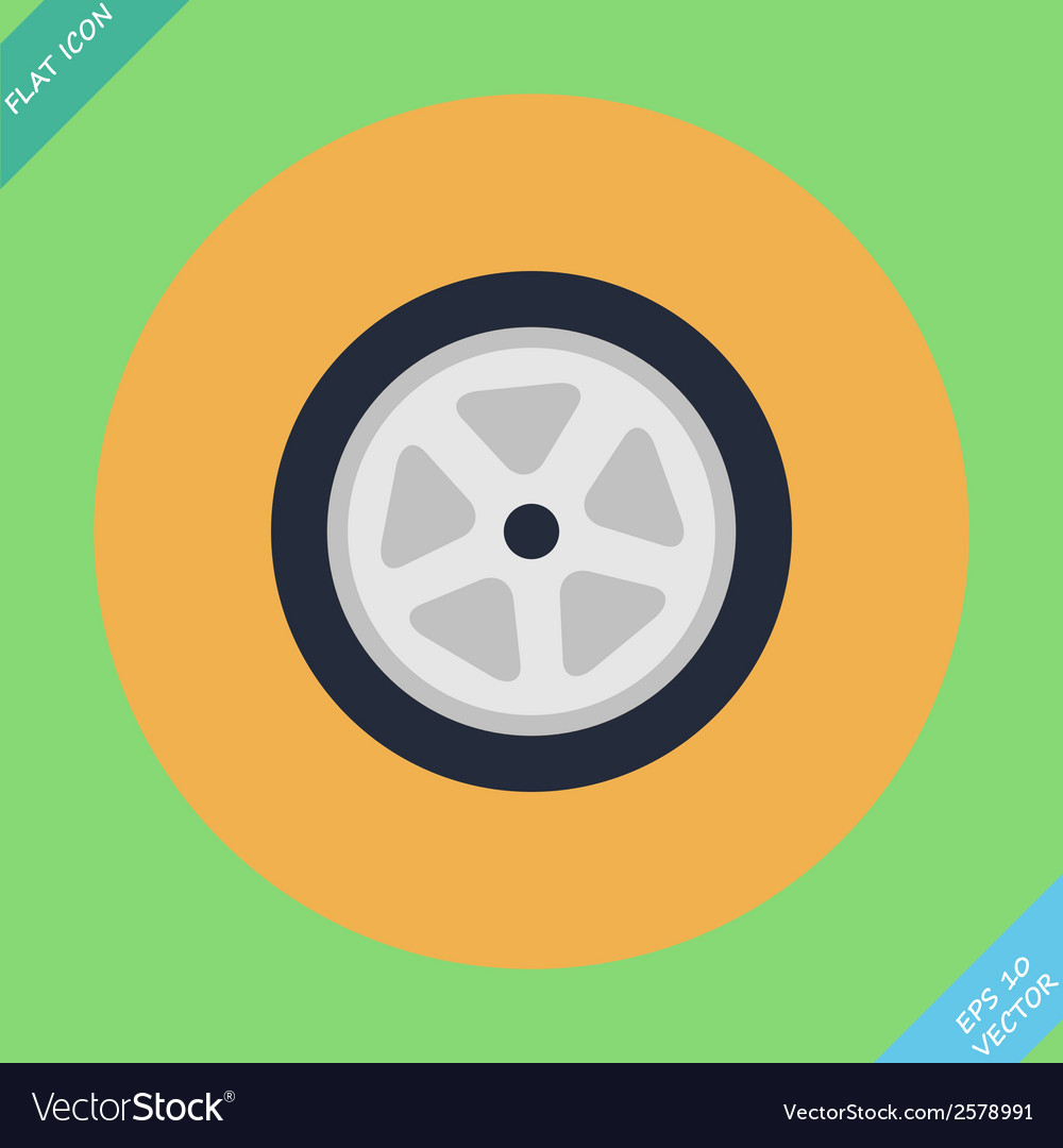 Auto wheel tire -  flat vector | Price: 1 Credit (USD $1)