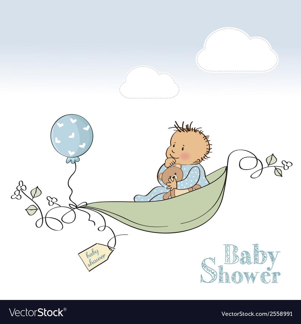 Baby boy shower card vector | Price: 1 Credit (USD $1)