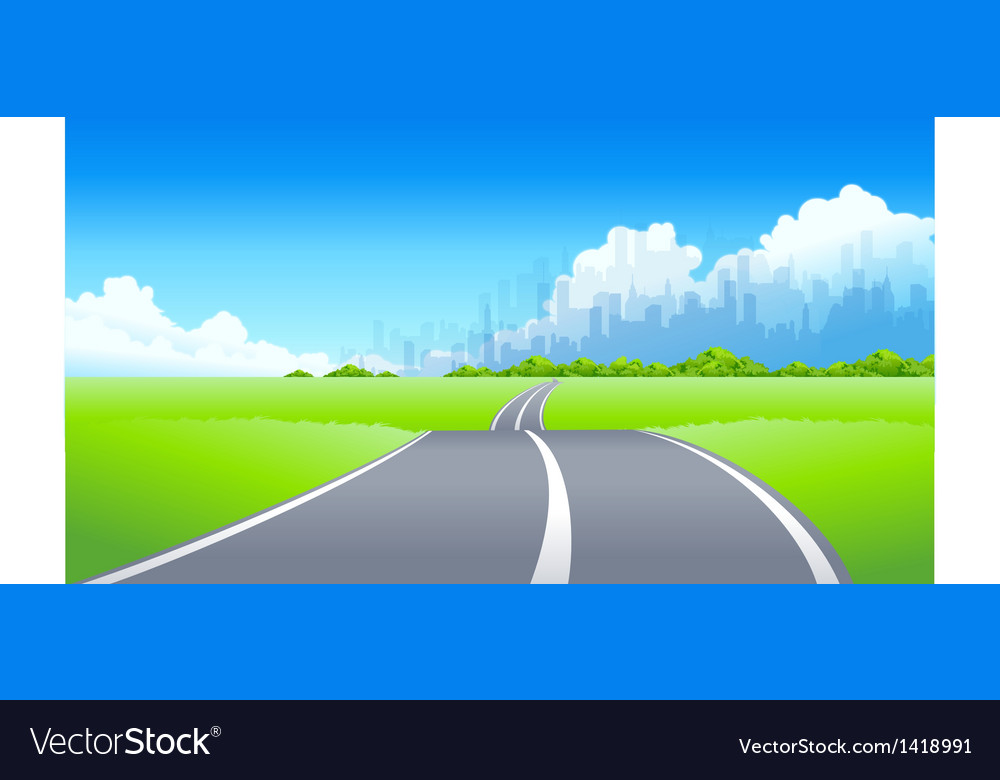 City skyline road vector | Price: 1 Credit (USD $1)