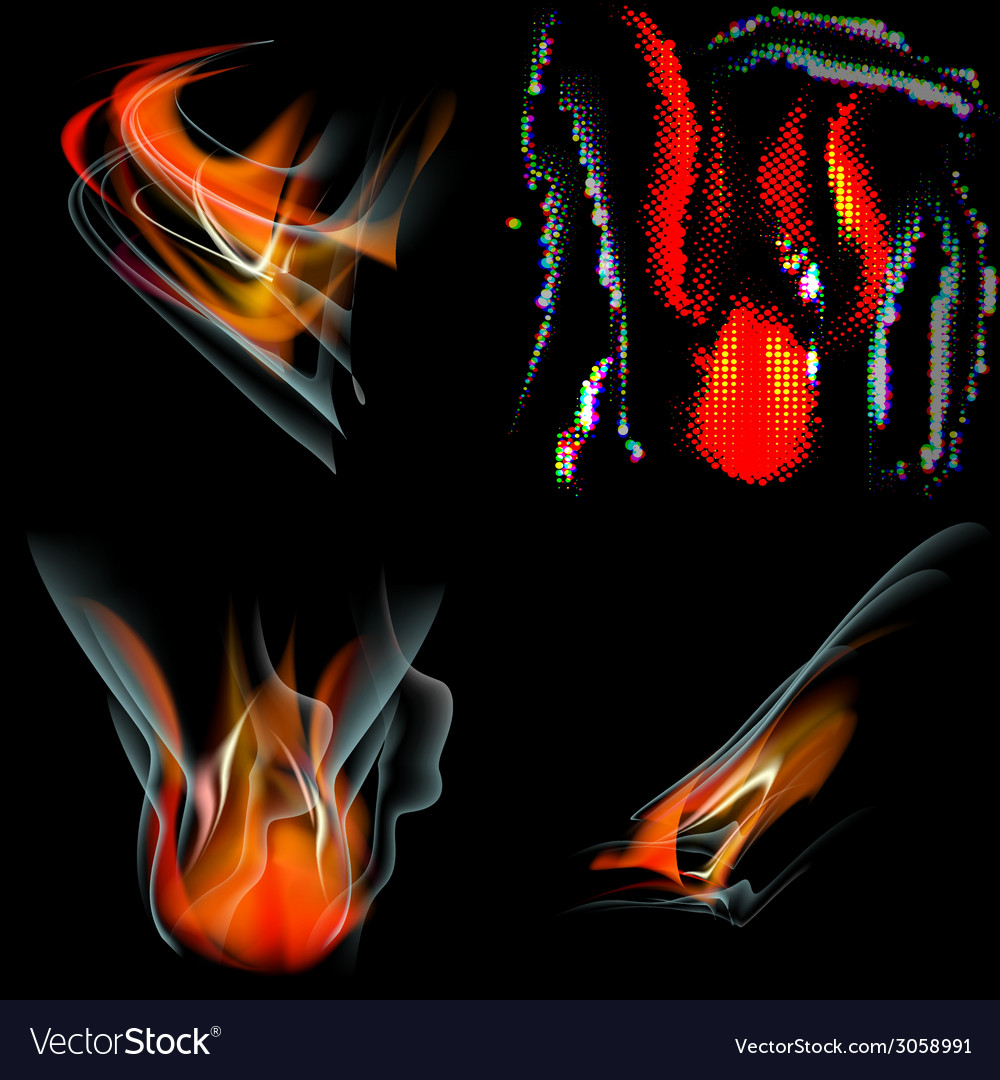 Collection of fires isolated on black background vector | Price: 1 Credit (USD $1)