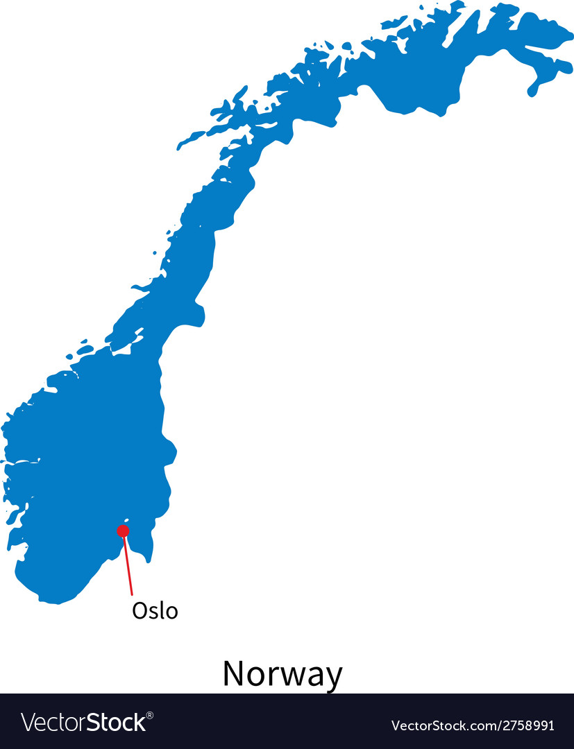 Detailed map of norway and capital city oslo vector | Price: 1 Credit (USD $1)