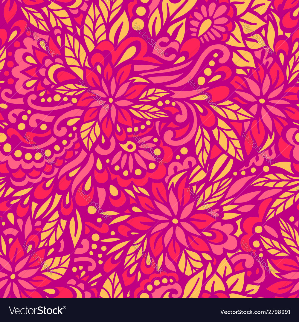 Flowering garden seamless decorative pattern vector | Price: 1 Credit (USD $1)