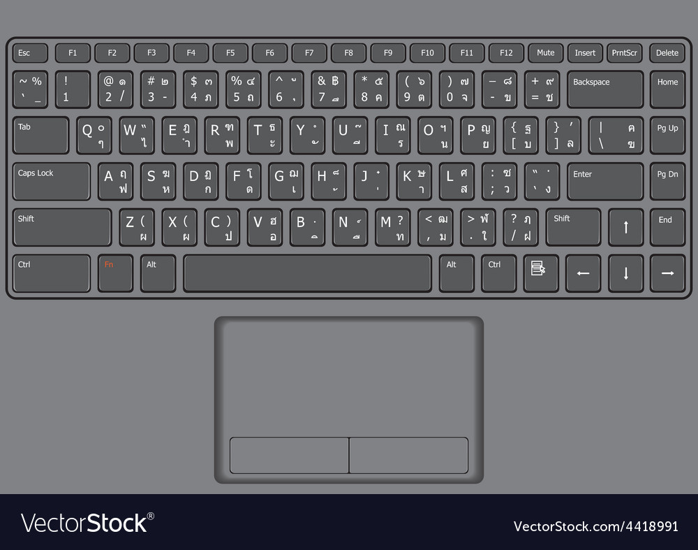 Laptop keyboard us thai vector | Price: 1 Credit (USD $1)