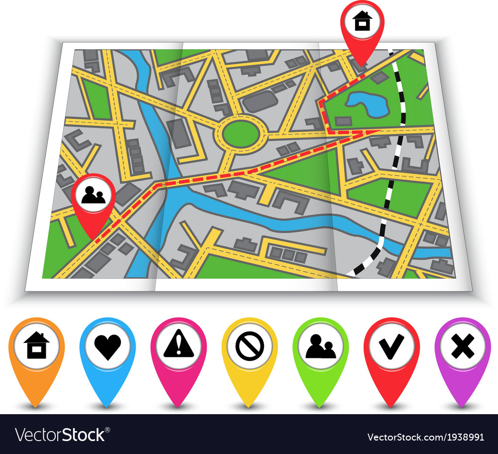 Paper maps icons and distance marked in red vector | Price: 1 Credit (USD $1)