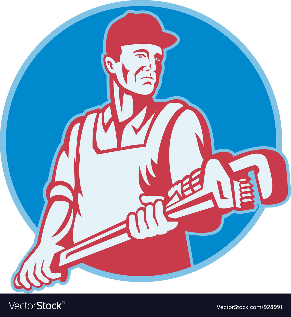 Plumber worker monkey wrench retro vector | Price: 3 Credit (USD $3)