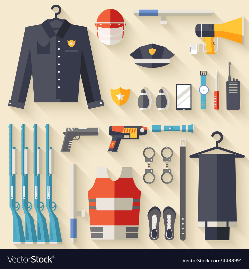 Security uniform and set protection staff vector | Price: 1 Credit (USD $1)