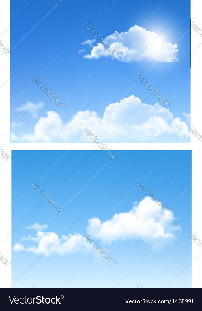 Set of nature backgrounds with cloud and sky vector | Price: 3 Credit (USD $3)