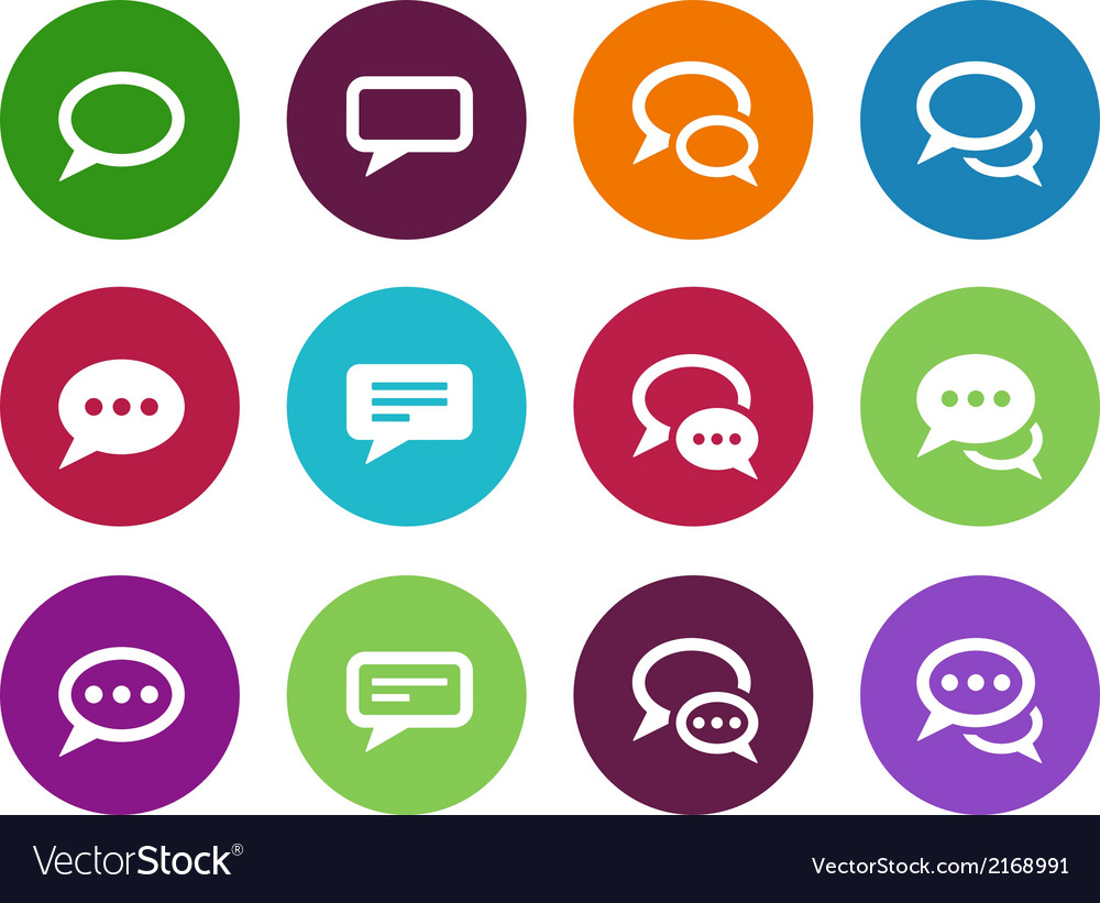 Speech bubble circle icons on white background vector | Price: 1 Credit (USD $1)
