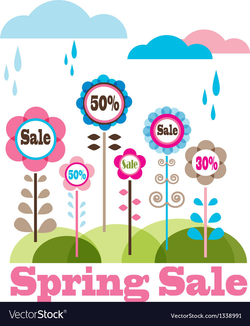 Sping sale flower meadow with rainy clouds vector | Price: 1 Credit (USD $1)