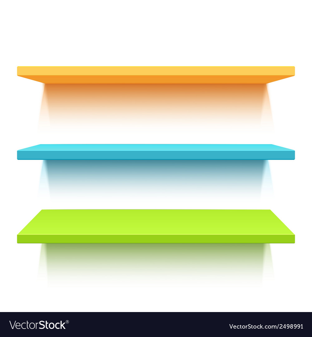 Three colorful realistic shelves vector | Price: 1 Credit (USD $1)