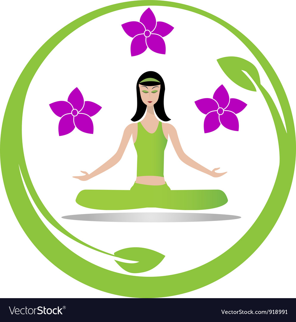 Yoga meditation girl logo vector | Price: 1 Credit (USD $1)